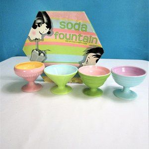 4 Pastel Ceramic Ice Cream Holders By Rosanna
